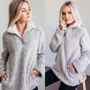 Sweaters - Sherpa fleece fuzzy high neck pullover sweater